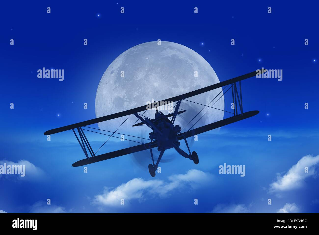 Full Moon Airplane Getaway Abstract Illustration. Flying Vintage Airplane Above the Clouds At Night. - Stock Image
