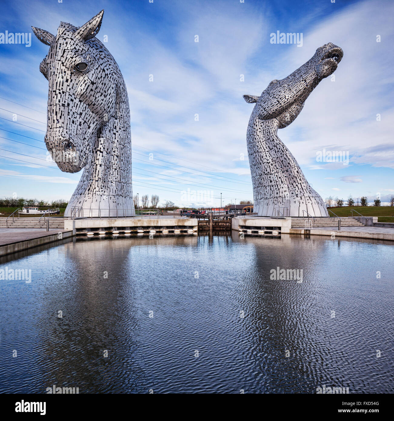 'The Kelpies' by Andy Scott in The Helix Park, Falkirk, Scotland. - Stock Image