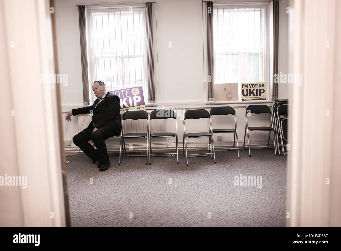 UKIP candidate Simon Tobin, standing for parliamentary seat in the Waveney General elections - documentary from - Stock Image