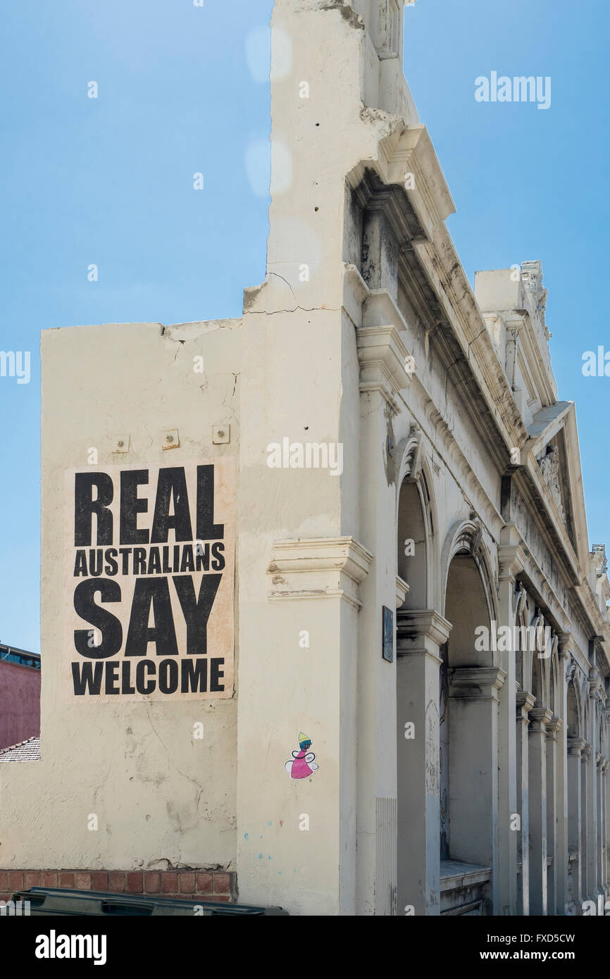 Preserved historic frontage, Cliff Street, Freemantle, Perth, Western Australia. Real Australians Say Welcome - Stock Image