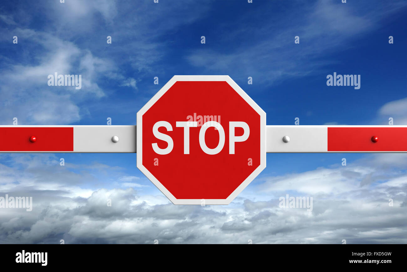 3d rendering of barrier with stop sign on sky background - Stock Image