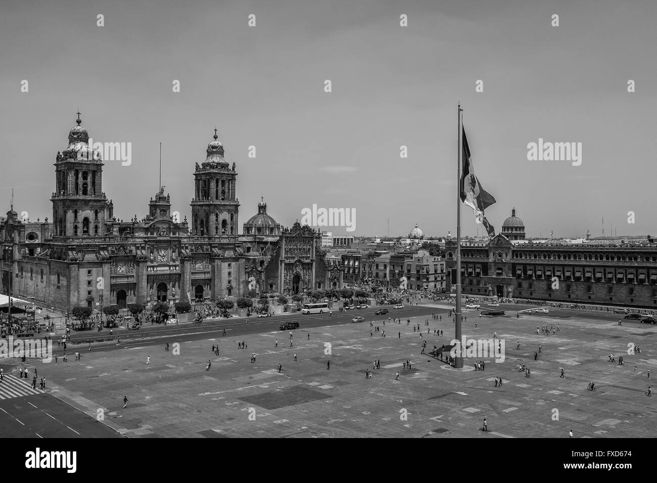 Plaza de la Constitución (Zócalo and Cathedral) in Mexico City - Stock Image