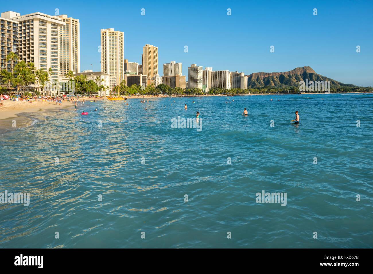 USA, Hawaii, Oahu, Waikiki Beach - Stock Image