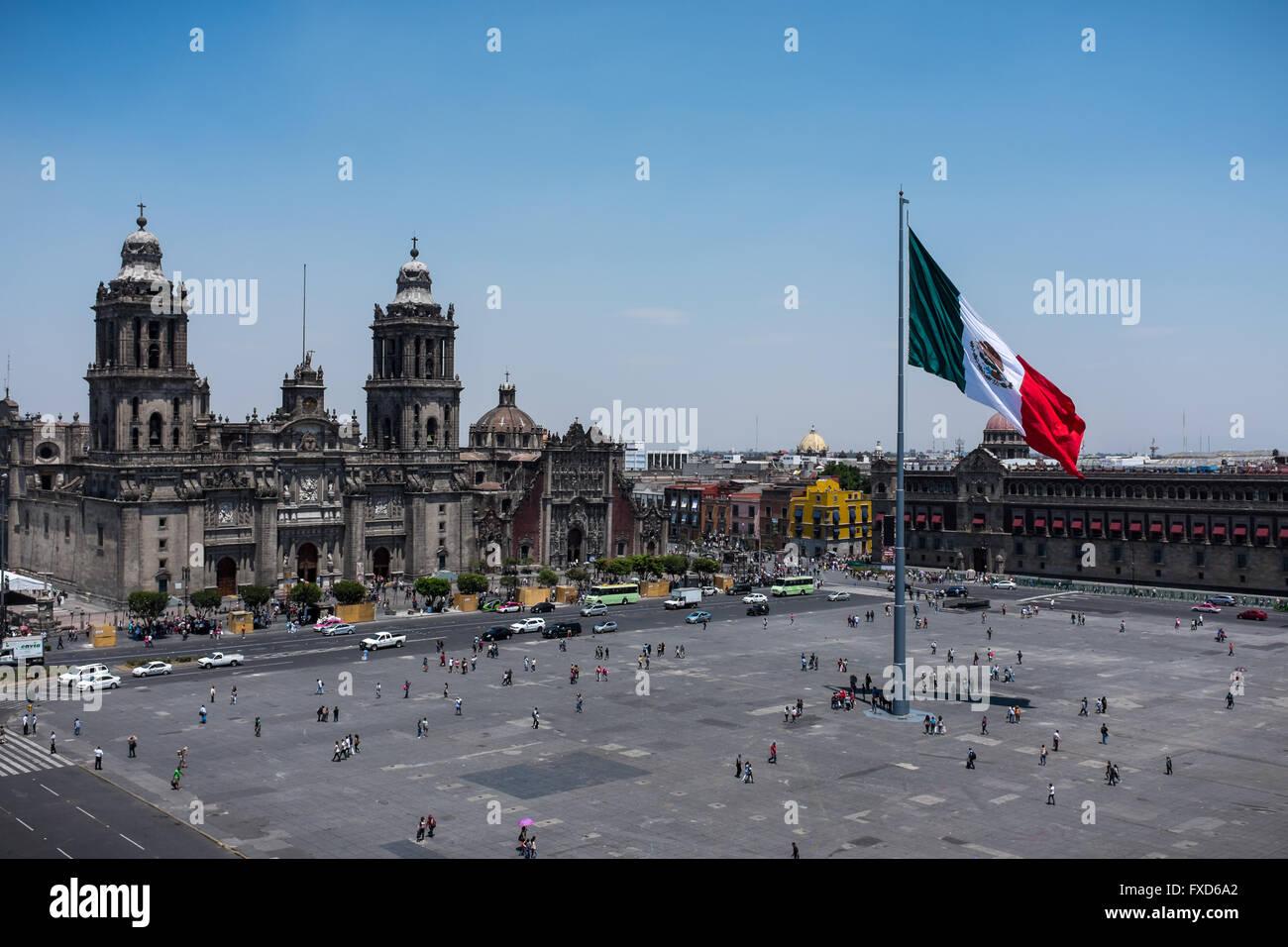 Plaza de la Constitución (Zócalo and Cathedral) in Mexico City - Stock Image