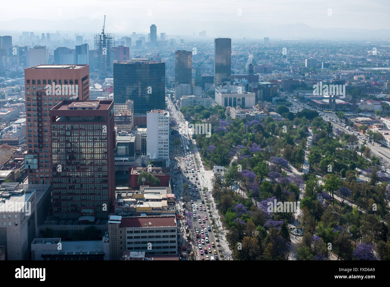 View from the torre Latinoamericana in Mexico City - Stock Image
