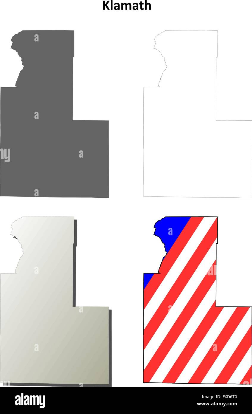 Klamath County Oregon Outline Map Set Stock Vector Art