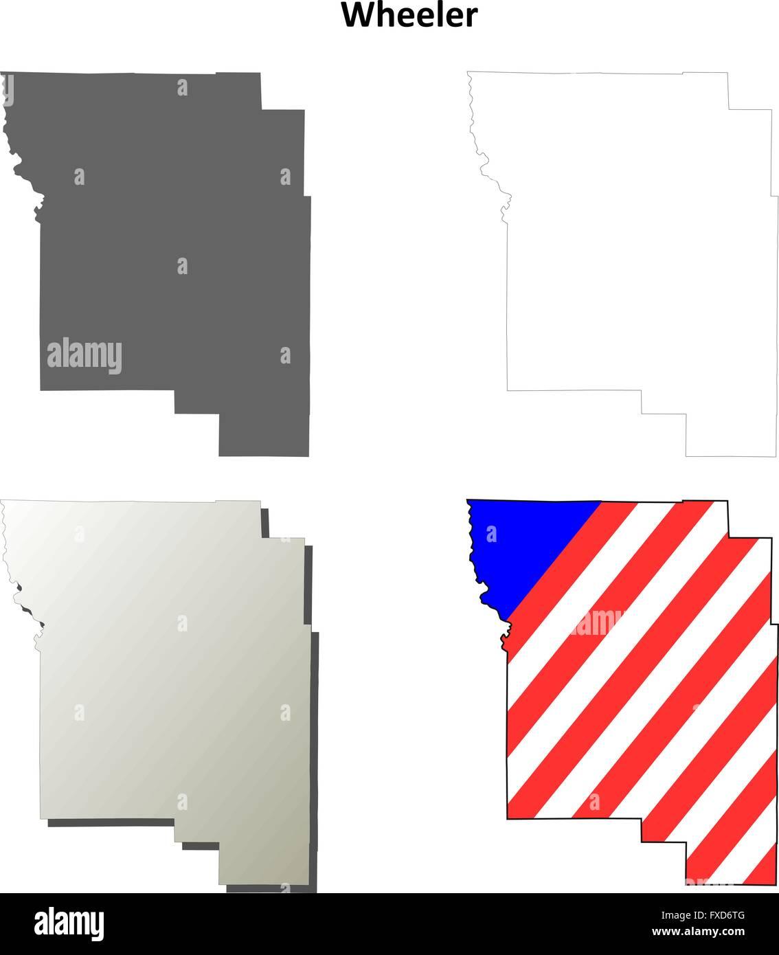 Wheeler Oregon Map.Wheeler County Oregon Outline Map Set Stock Vector Art