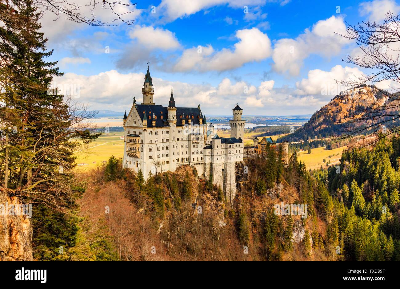 Neuschwanstein Castle in winter landscape, Fussen, Germany - Stock Image