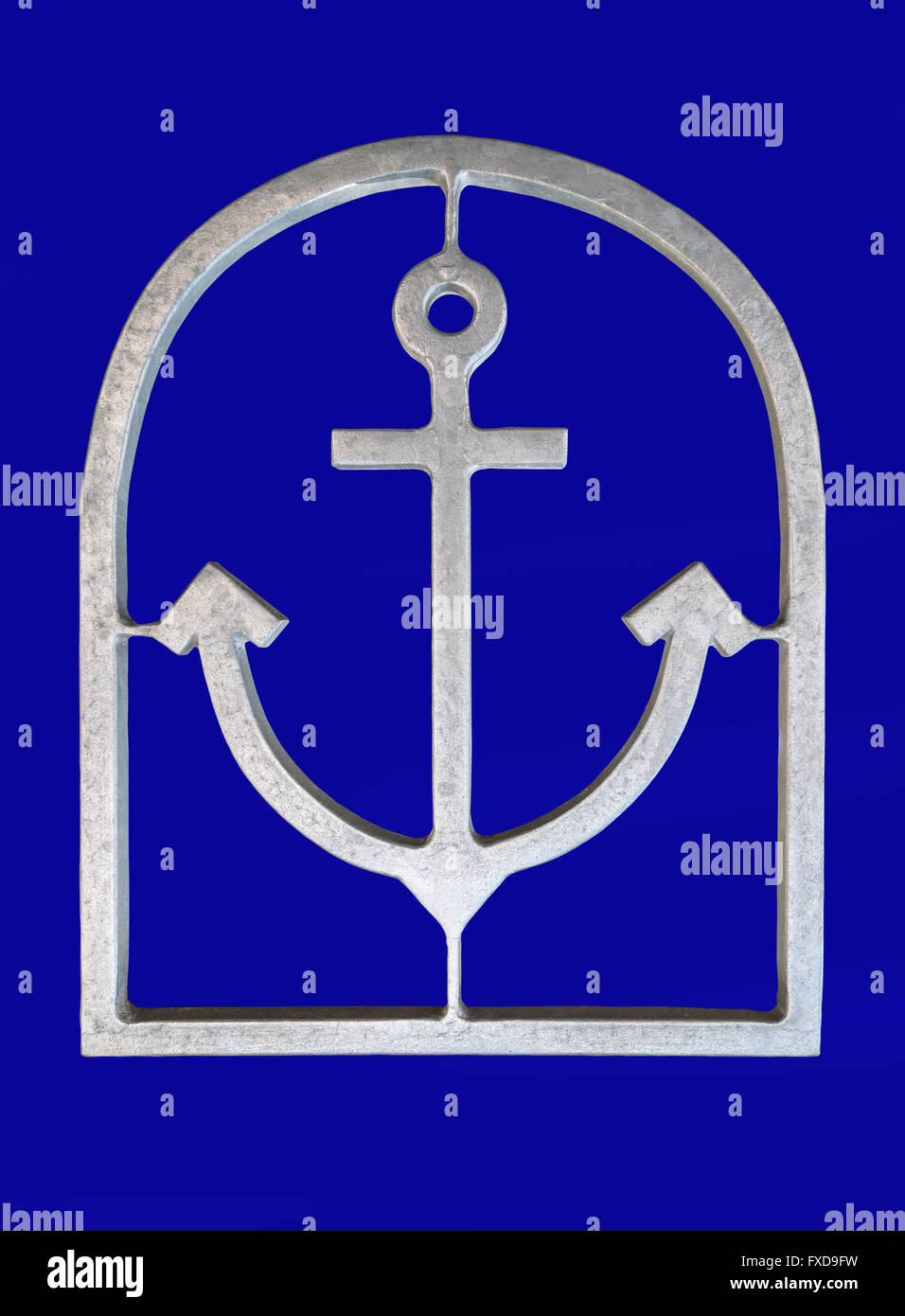 Silver anchor in a frame - Stock Image