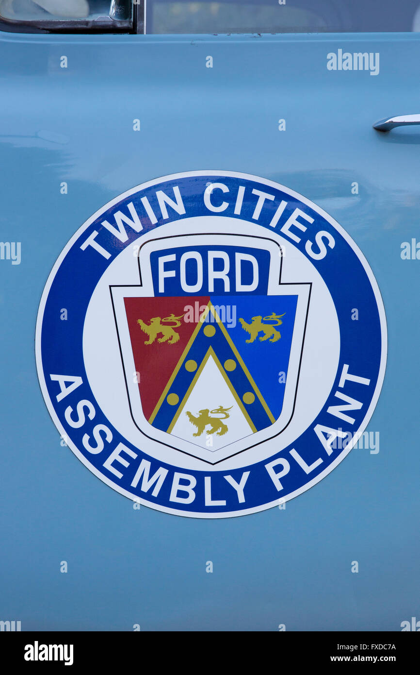 Twin Cities Ford Assembly Plant decal and symbol on the side of a vintage 1953 Ford Pickup - Stock Image