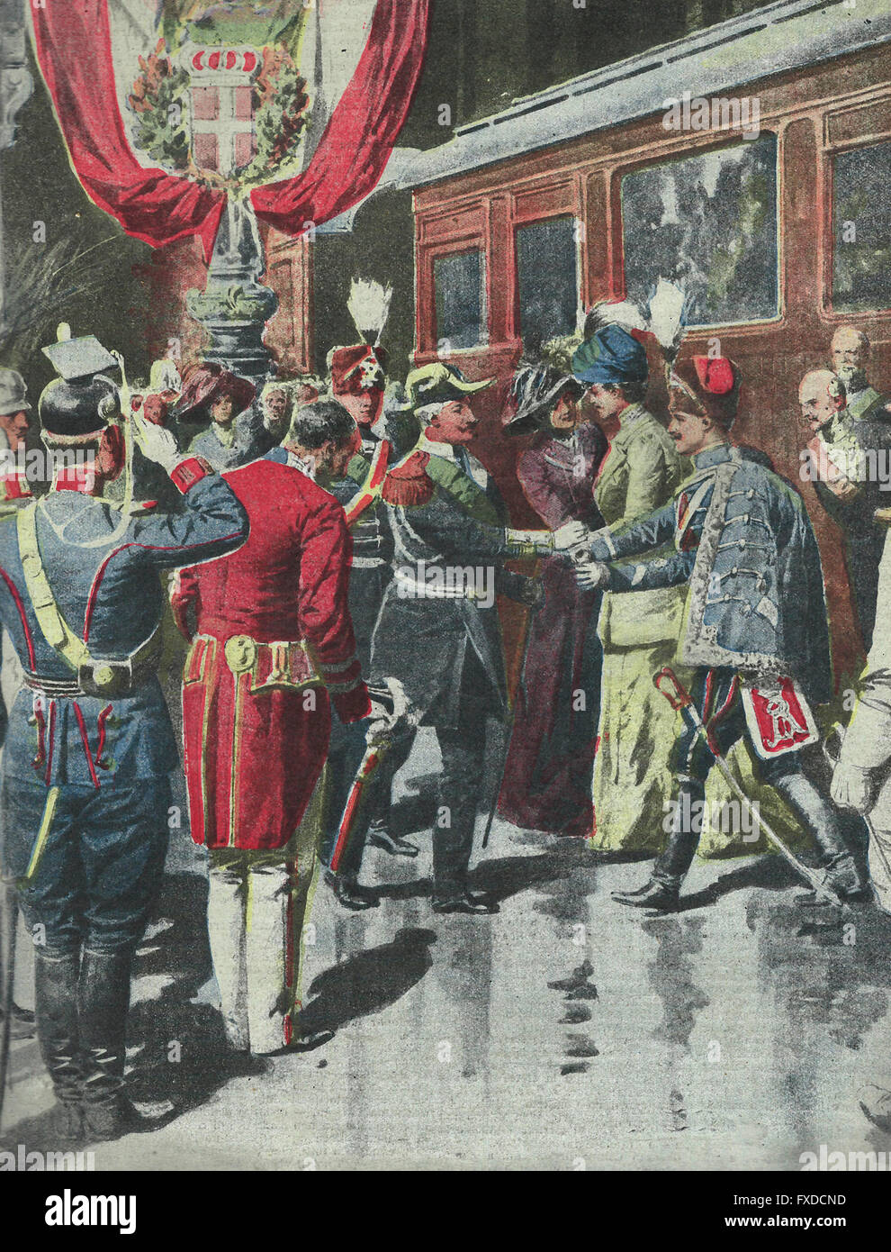 The Kings of Italy in Kiel : the meeting of our Sovereign with the German imperialists in the Baltic Spezia station - Stock Image