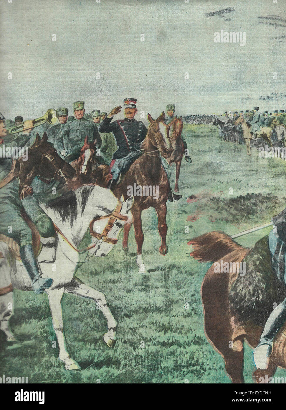 King is reviewing impressive cavalry divisions that participated in the maneuvers in Lombardy  1913 - Stock Image