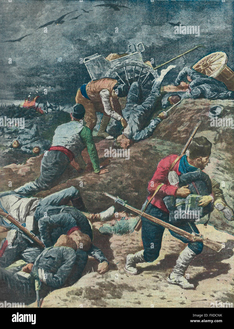 The Macedonians , after the battle, hovering vultures and the immense carnage rummaging petty thieves , human hyenas - Stock Image