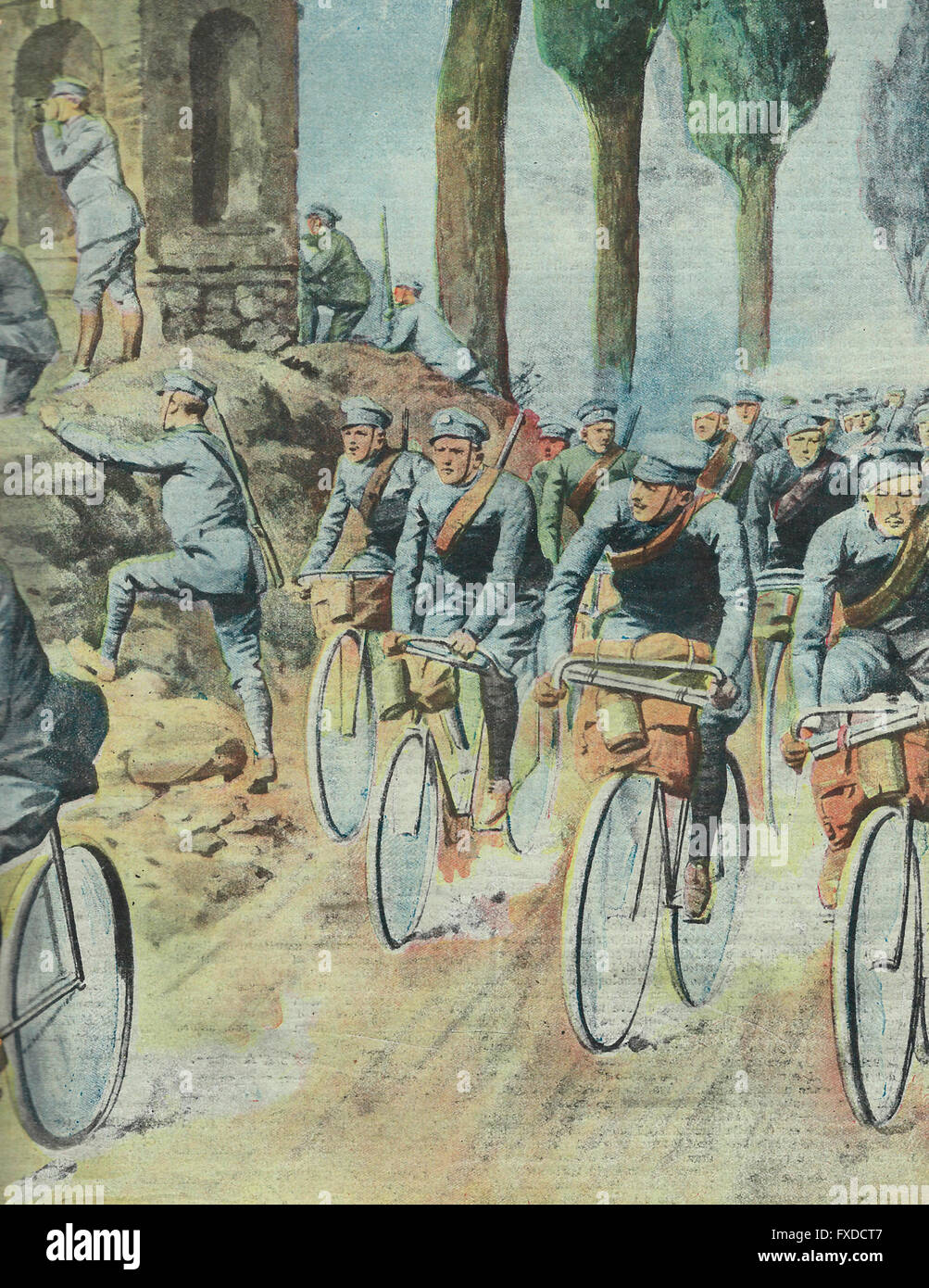 The cavalry maneuvers : the young volunteer cyclists , bold and tireless , radiate on the Lombard plain to spy on - Stock Image