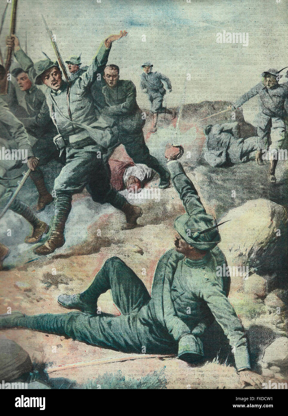 An episode of heroism of an Italian officer in the advance in Cyrenaica  1913 - Stock Image