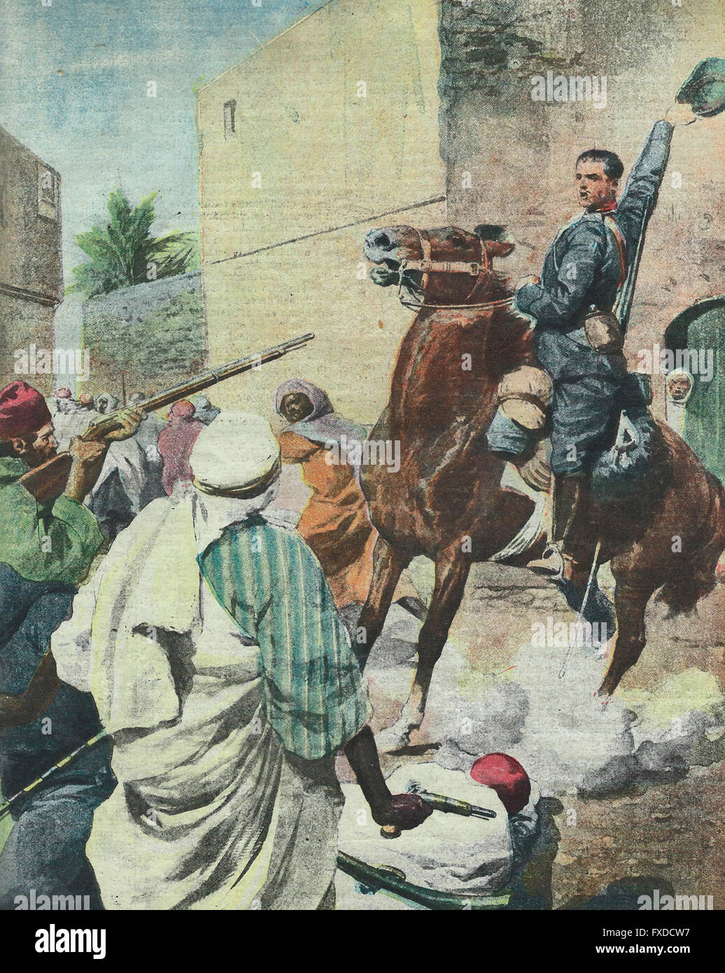 The heroic actions of an Italian cavalryman at the Battle of the Wells of Benina in Cyrenaica 1913 - Stock Image