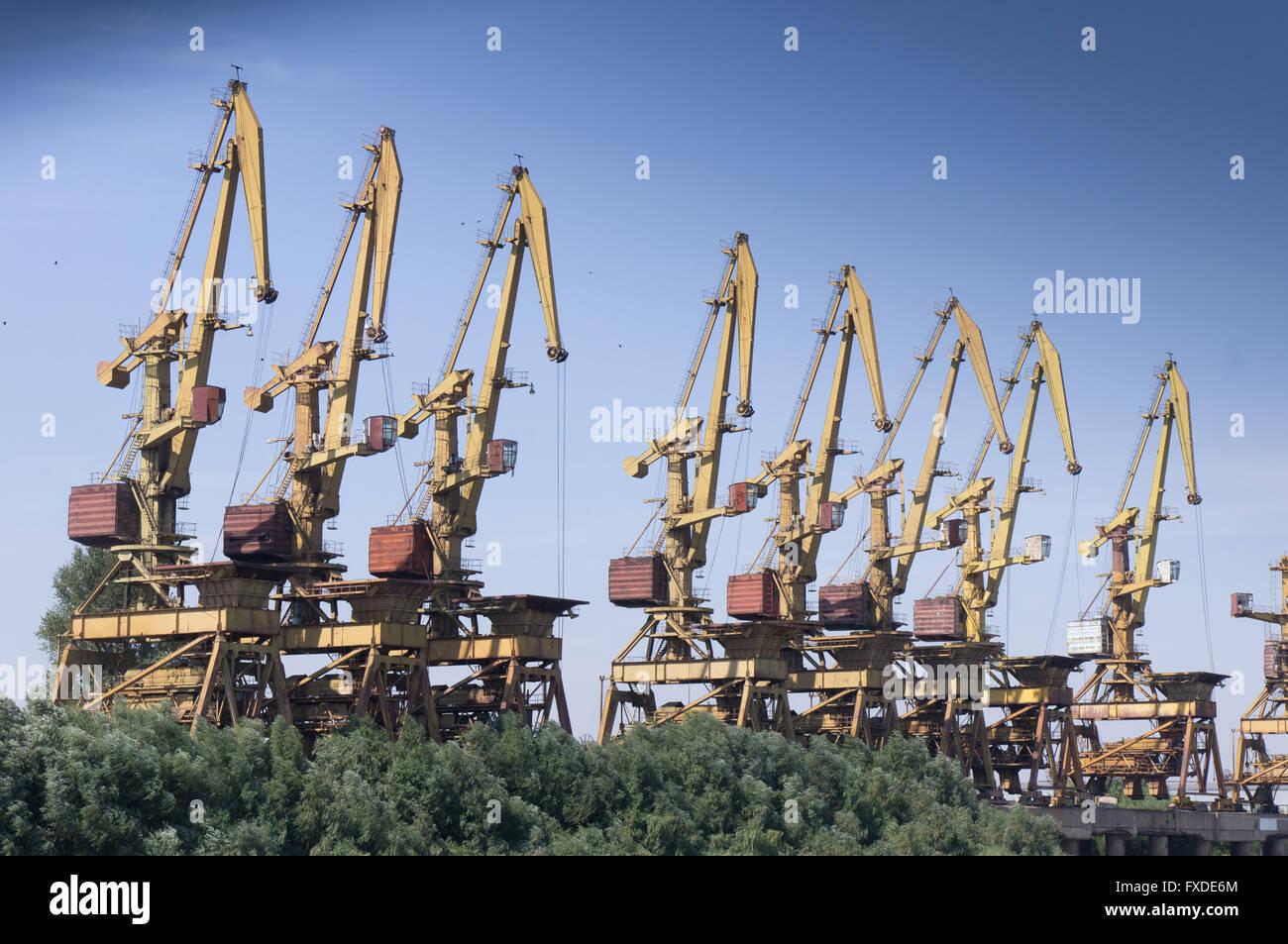 Many Cranes On The Shipyard In Galati