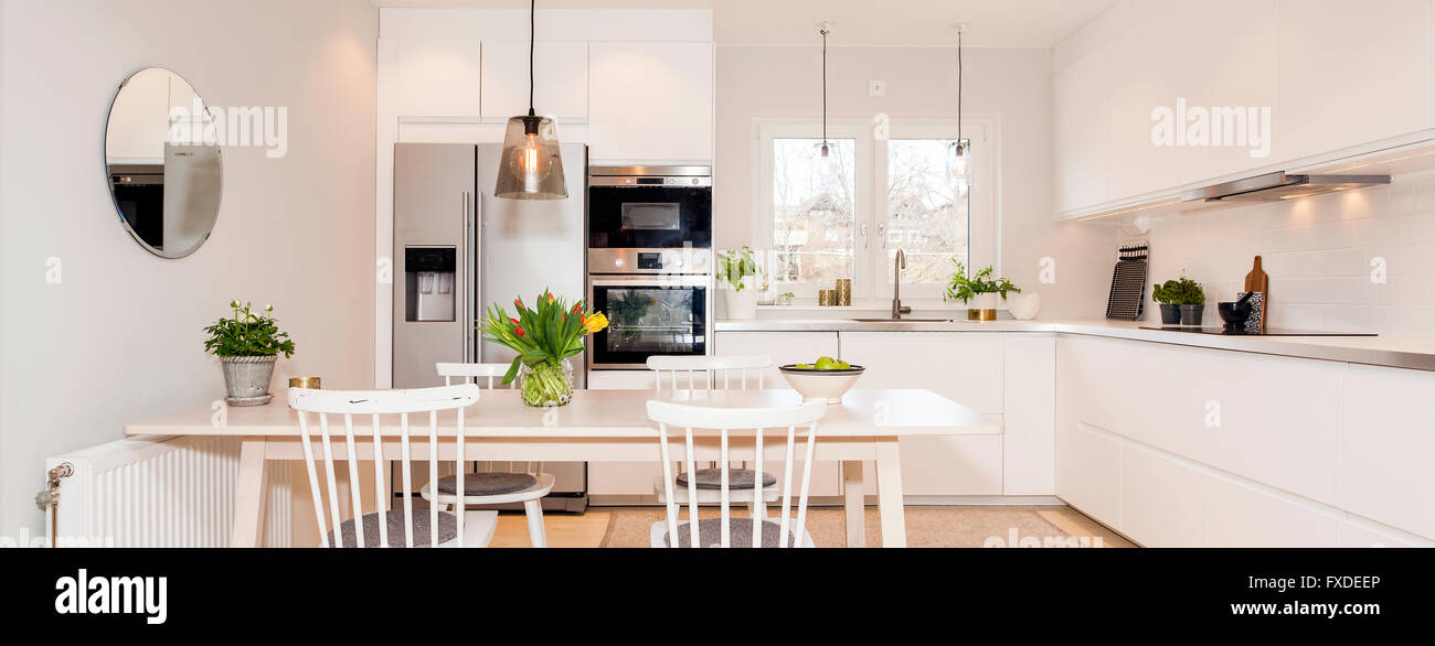 Horizontal Web Banner Of Fancy Kitchen Interior Stock Photo