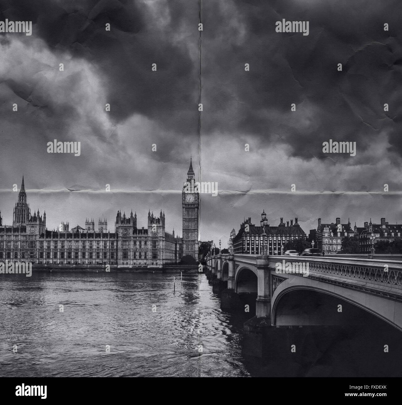 Old photo of London Big Ben Westminster bridge Stock Photo