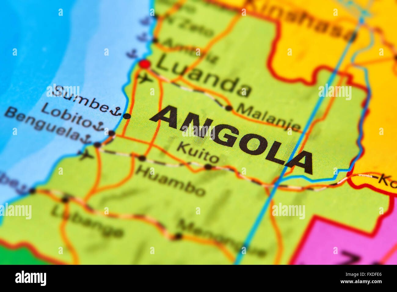 Angola Country in Africa on the World Map - Stock Image