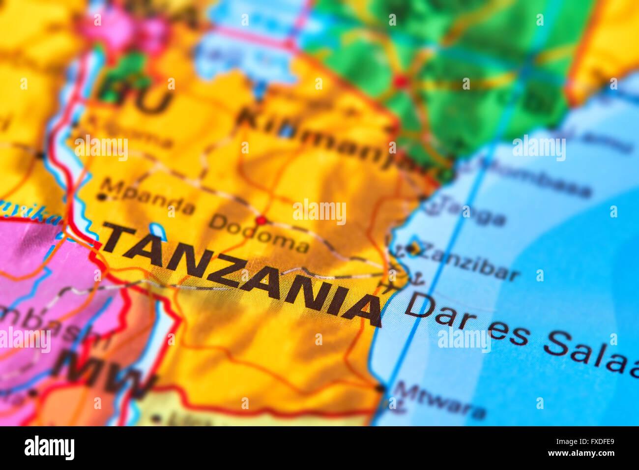Africa tanzania map stock photos africa tanzania map stock images tanzania country in africa on the world map stock image gumiabroncs Choice Image