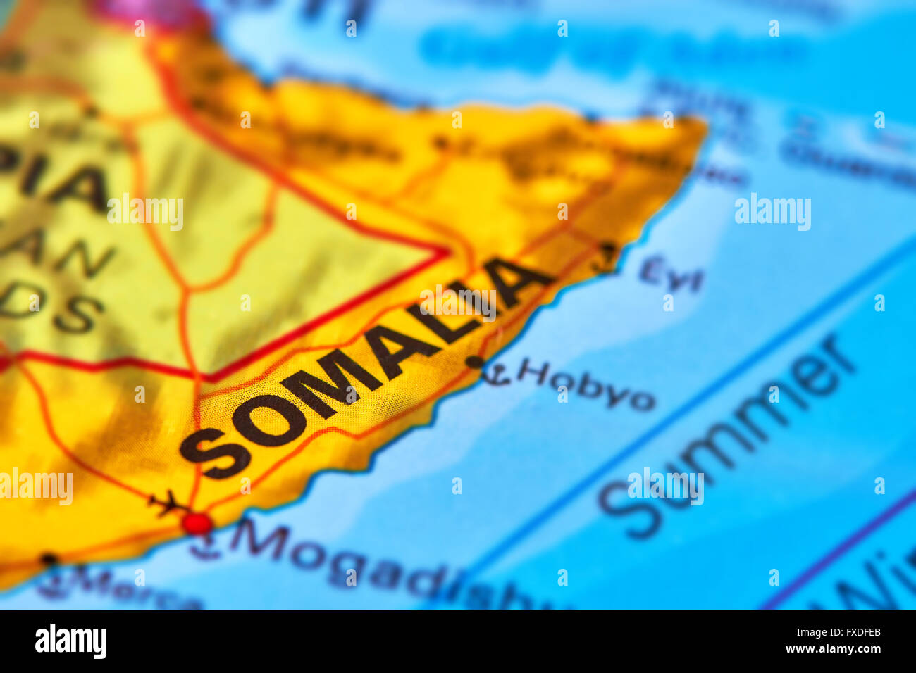 Somalia Country in Africa on the World Map - Stock Image