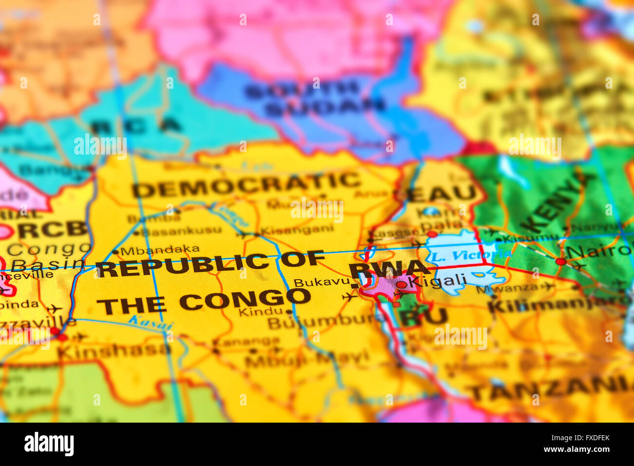 Democratic Republic Of Congo In Africa On The World Map Stock Photo