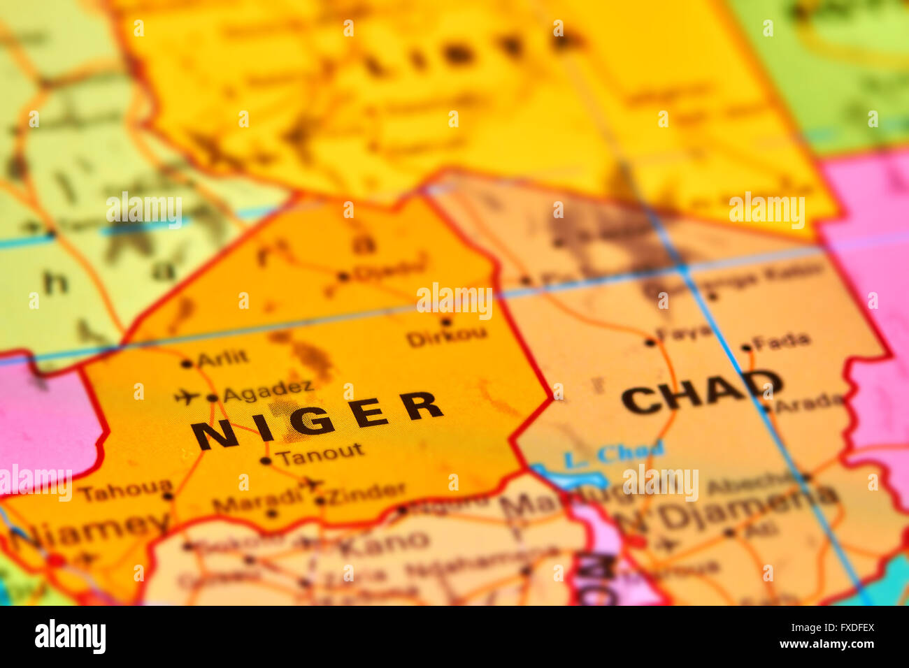 Niger Country in Africa on the World Map - Stock Image