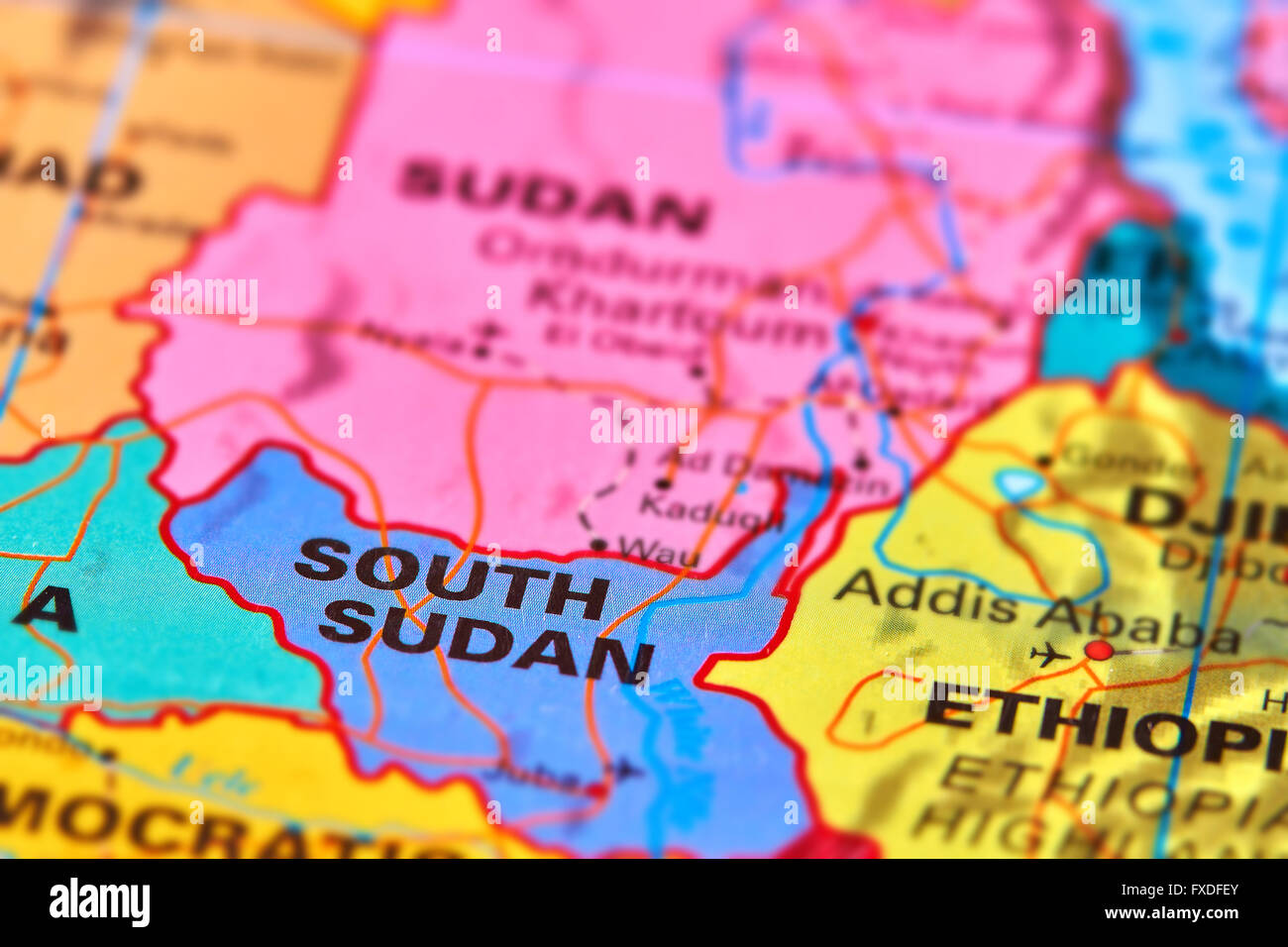 South Sudan Country in Africa on the World Map - Stock Image