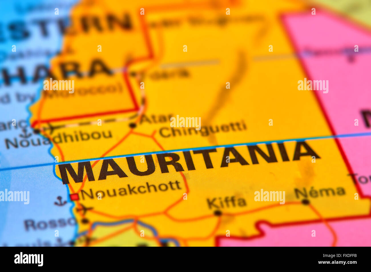 Mauritania Country in Africa on the World Map - Stock Image