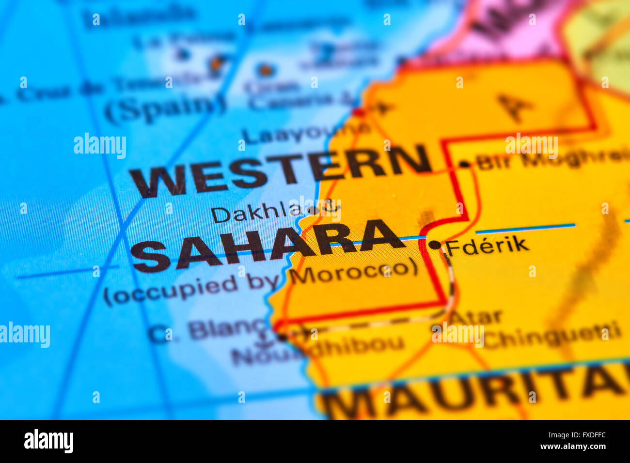 Western Sahara in Africa on the World Map - Stock Image