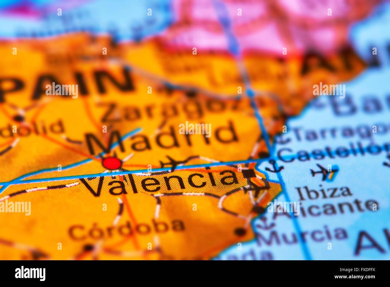 World Map Iberian Peninsula.Valencia City In Spain On The Iberian Peninsula On The World Map