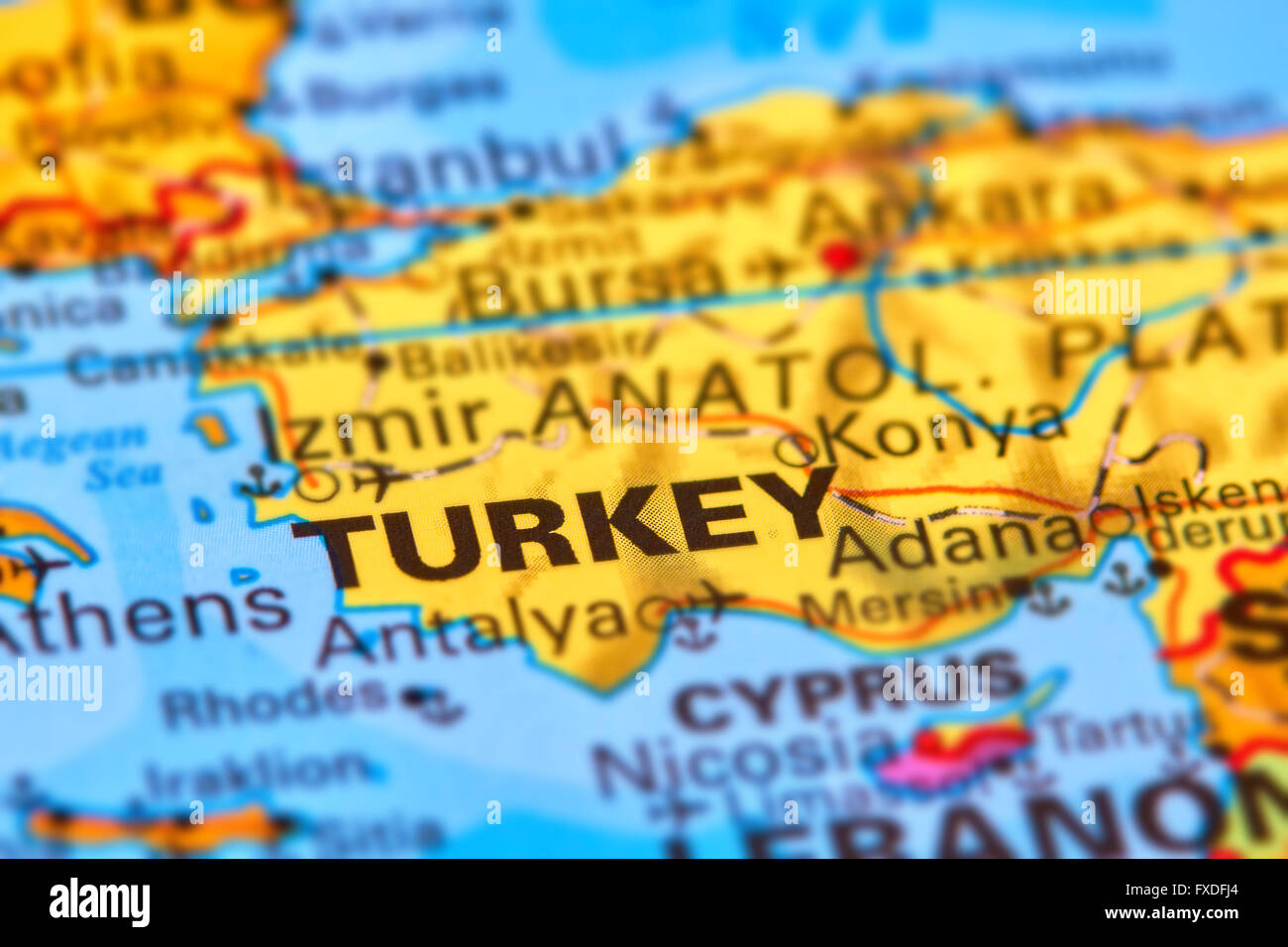 Turkey, Country in Europe and Asia on the World Map Stock Photo ...