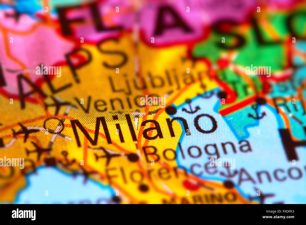 Milano city in italy on the world map stock photo 102330567 alamy milano city in italy on the world map gumiabroncs Choice Image
