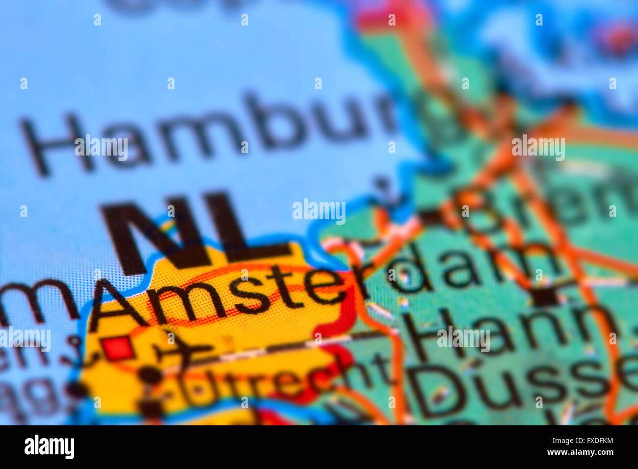 Amsterdam, Capital City of Netherlands on the World Map Stock Photo ...
