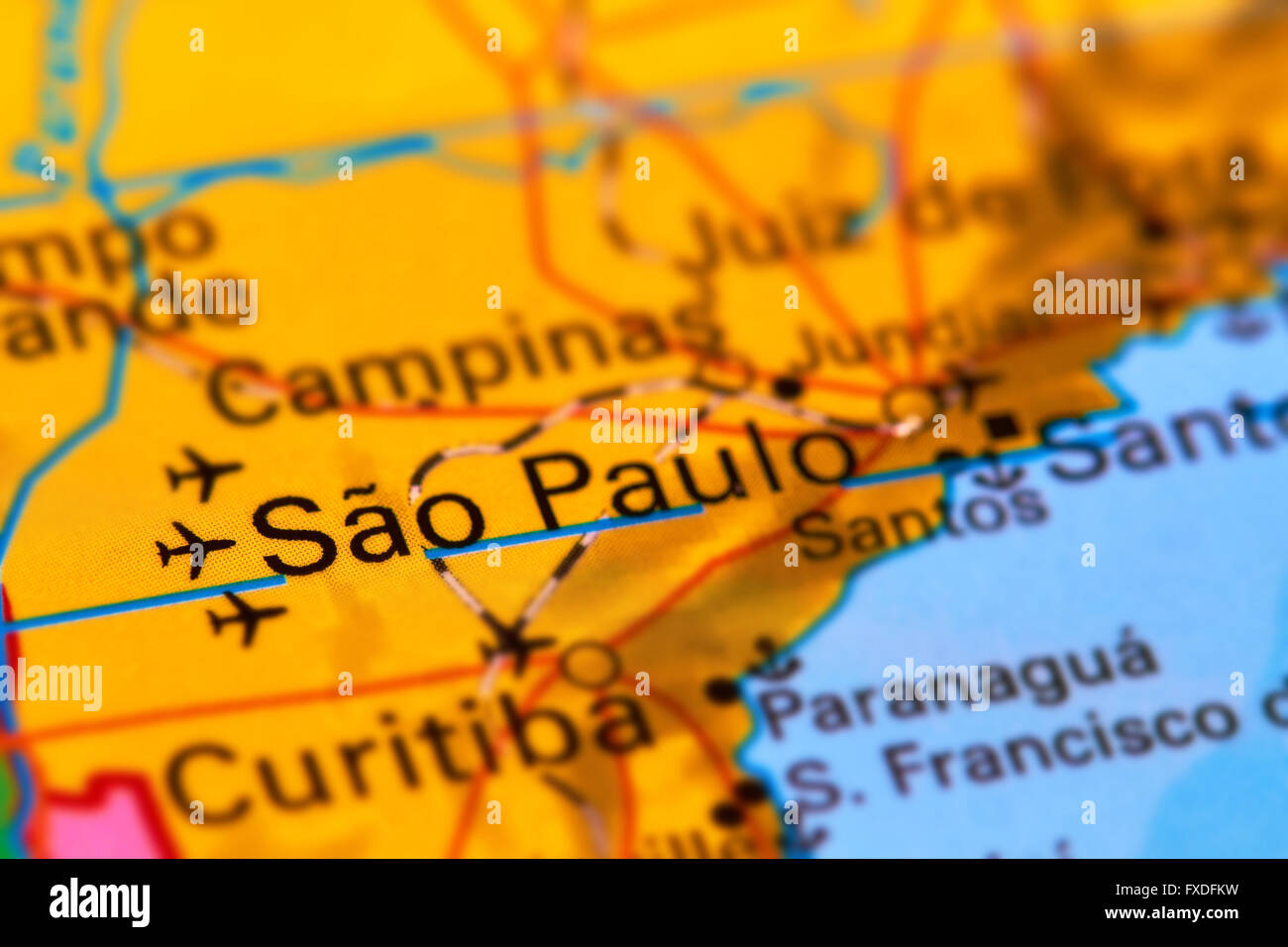 Sao Paulo City In Brazil On The World Map Stock Photo 102330589