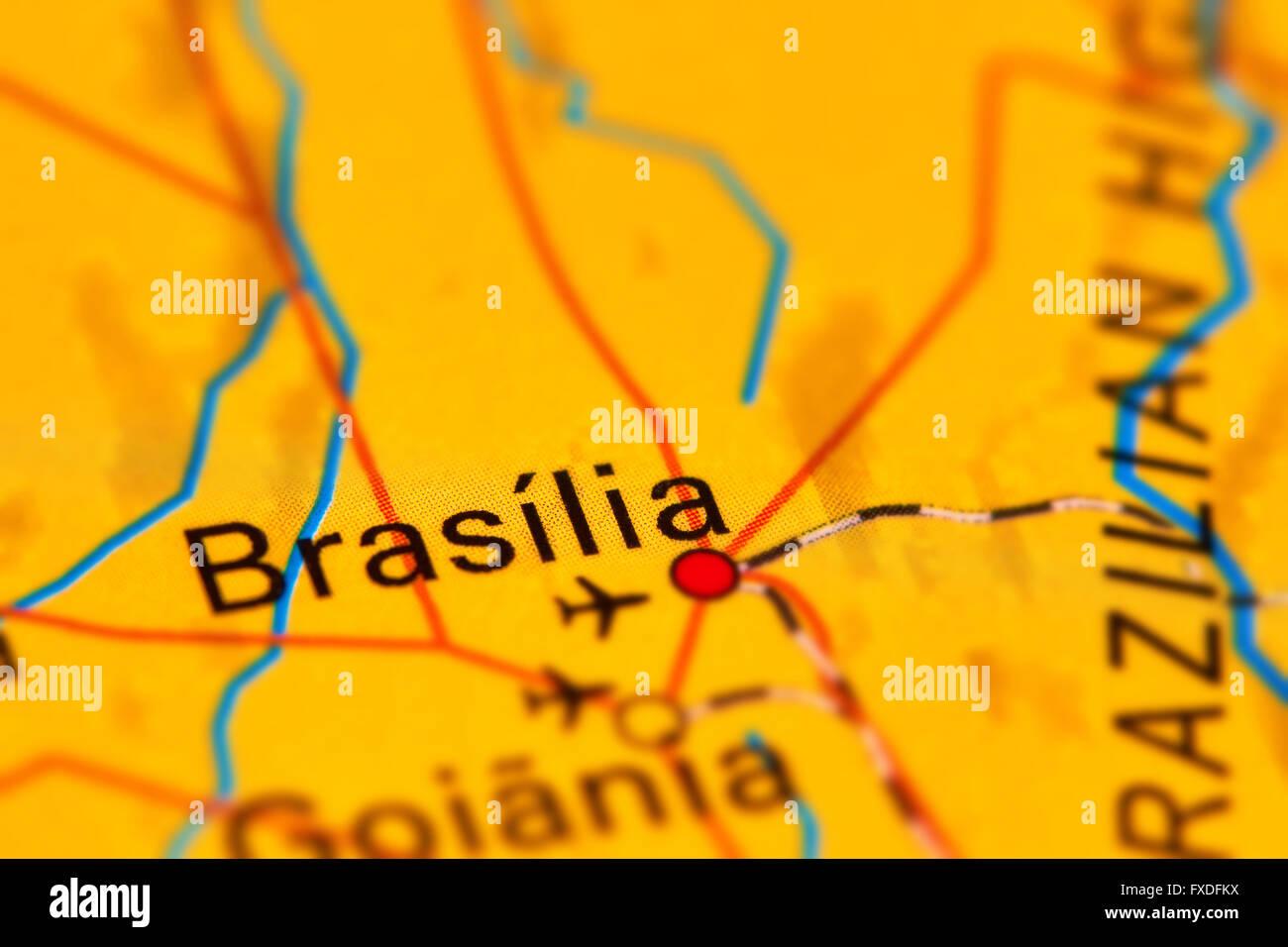 Brasilia Capital City Of Brazil On The World Map Stock Photo