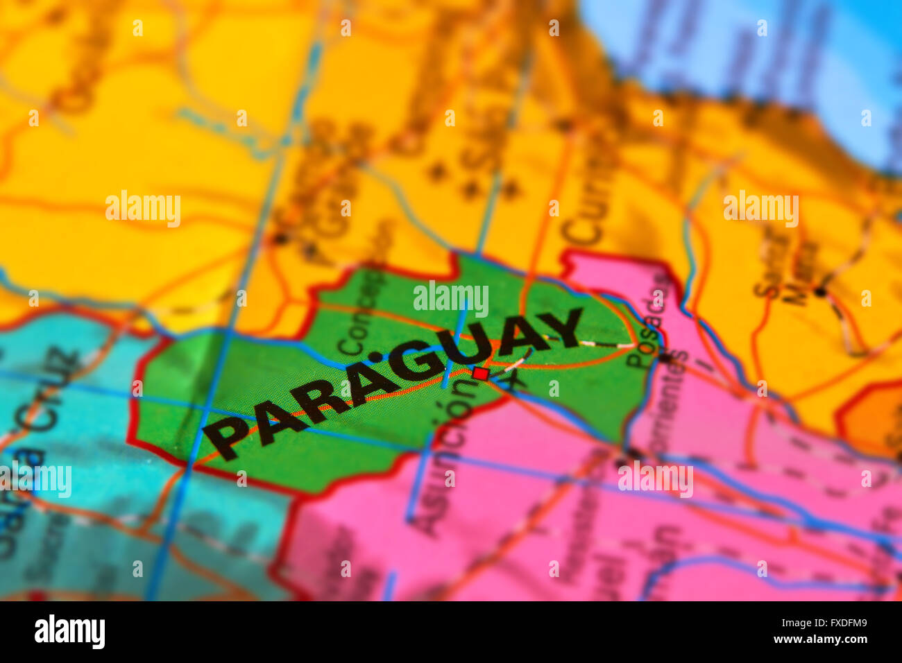 Paraguay and Capital Asuncion on the World Map - Stock Image