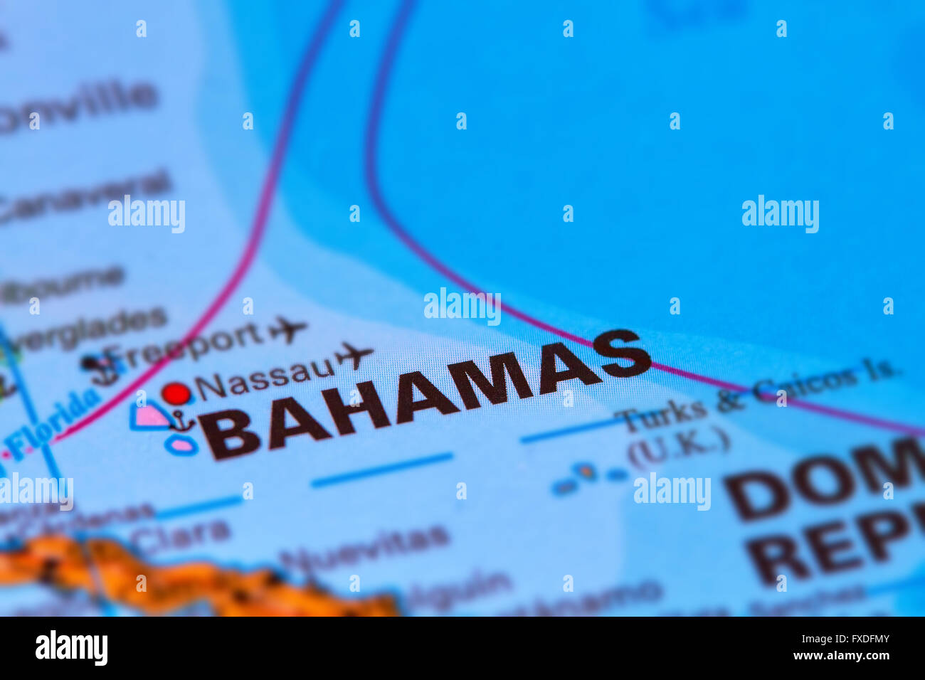 Bahamas and Capital Nassau on the World Map Stock Photo 102330619