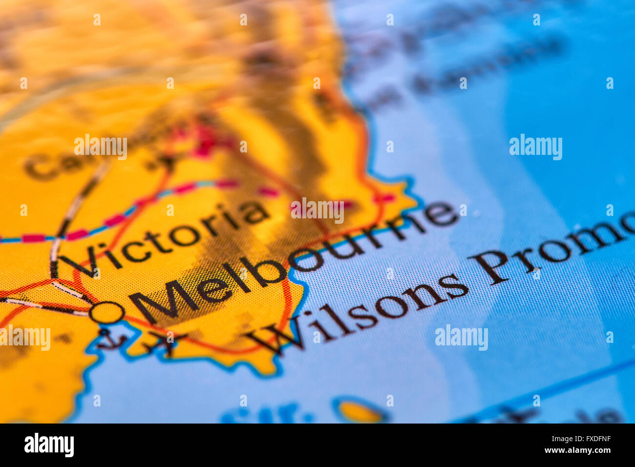 Melbourne City In Australia On The World Map Stock Photo 102330635