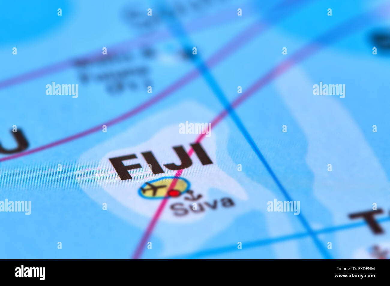 Fiji Island In Oceania On The World Map Stock Photo 102330640 Alamy