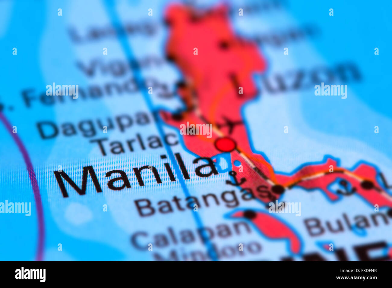 Manila, Capital City of the Philippines on the World Map - Stock Image