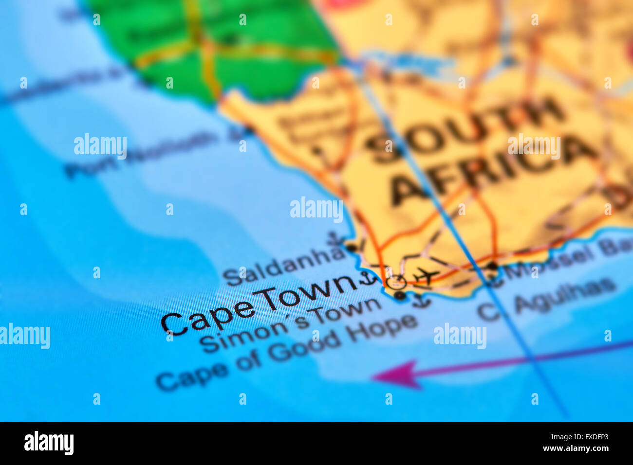 Cape Town Capital City of South Africa on the World Map Stock Photo