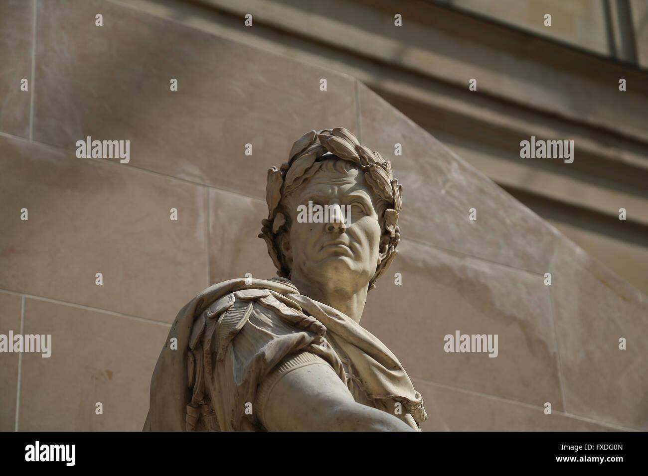 Julius Caesar (100BC-44BC). Roman statesman. Consul and dictador. Sculpture by French artist Nicolas Coustou (1658 - Stock Image