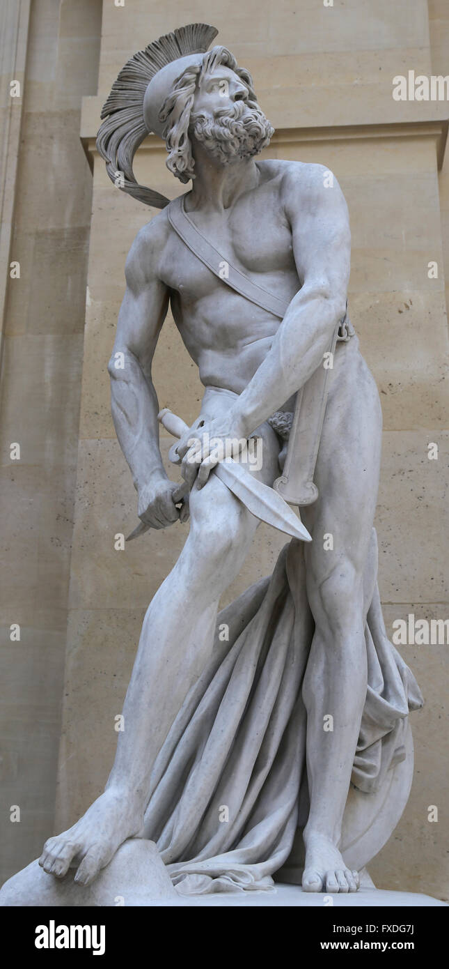 Philopoemen (253 BC-183 BC). Skilled Greek general. Achaean strategos on eight occassions. Statue by David's - Stock Image