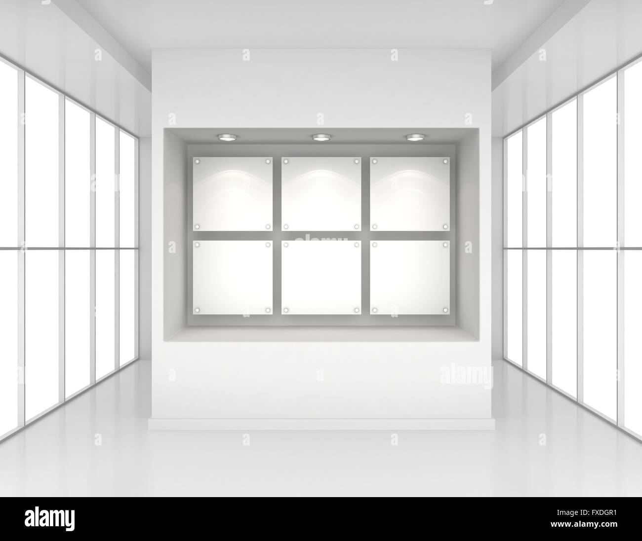 Exhibit Showcases With Blank Paper Poster And Light Bulbs In Interior Room  Large Windows