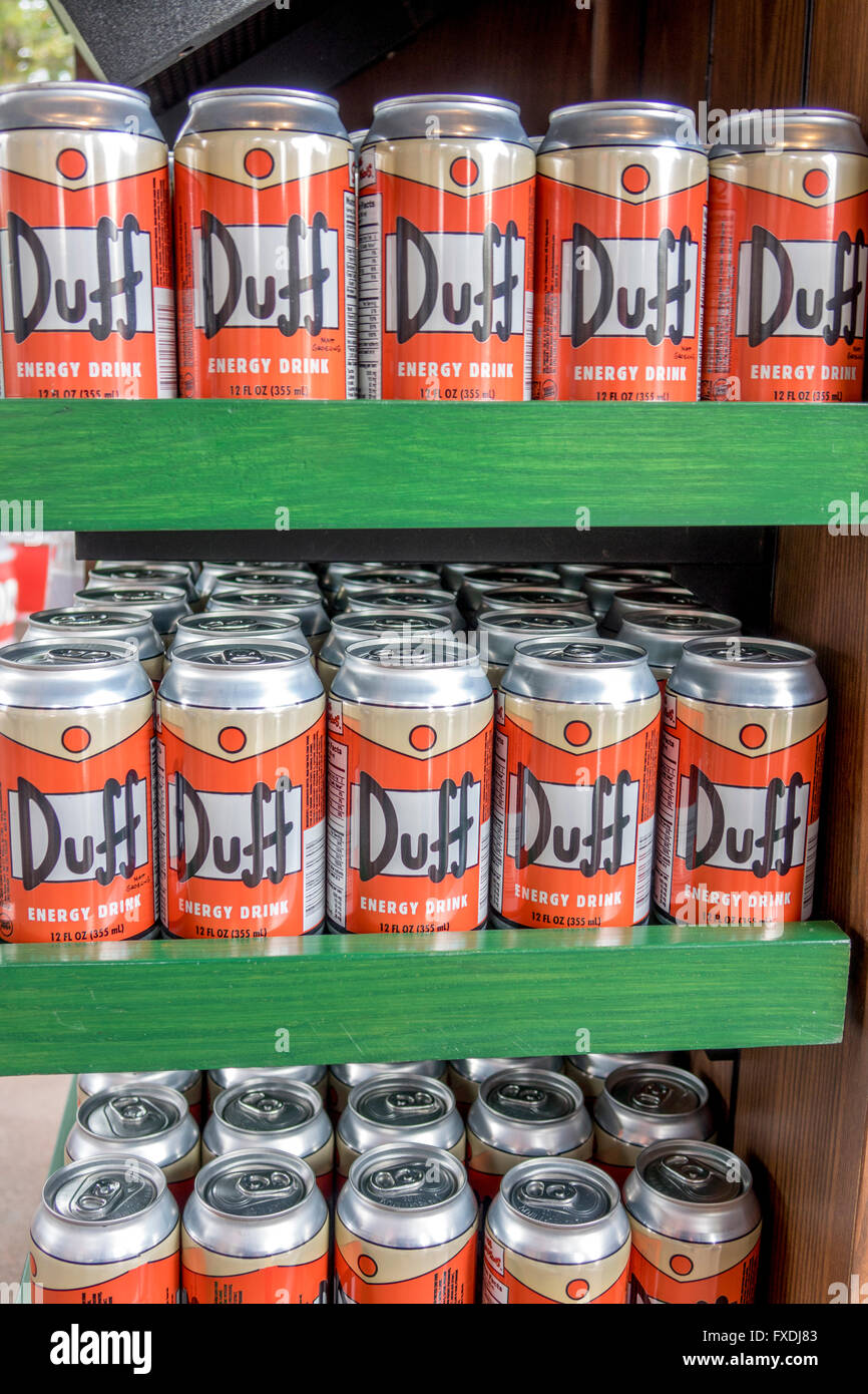 Duff Branded Energy Drinks For Sale In The Simpsons TV Show Area Of Universal Studios Florida - Stock Image