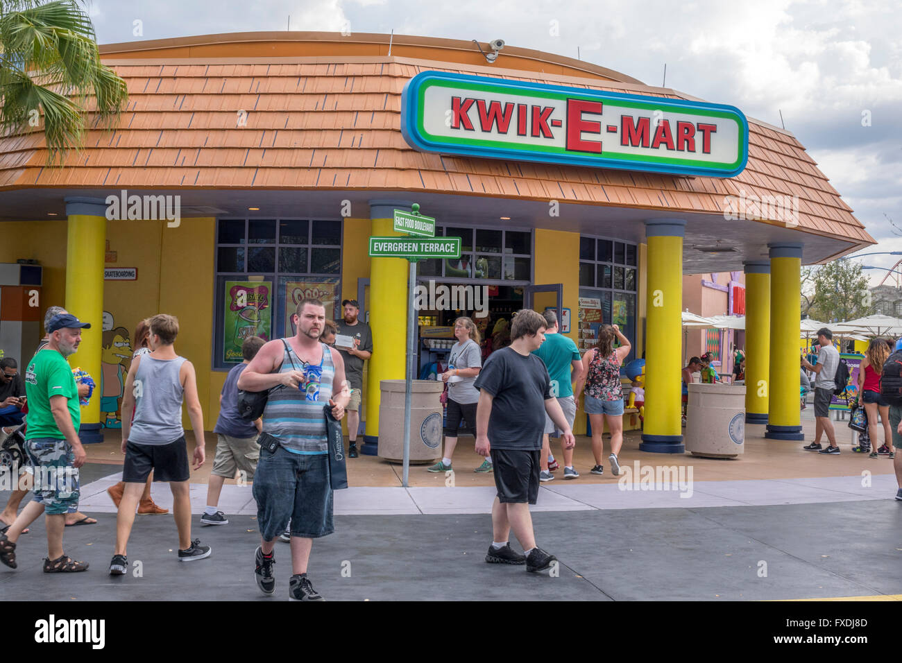Life Size Replica Of The Kwik-E-Mart From The Simpsons TV Show At Universal Studios Orlando Florida - Stock Image