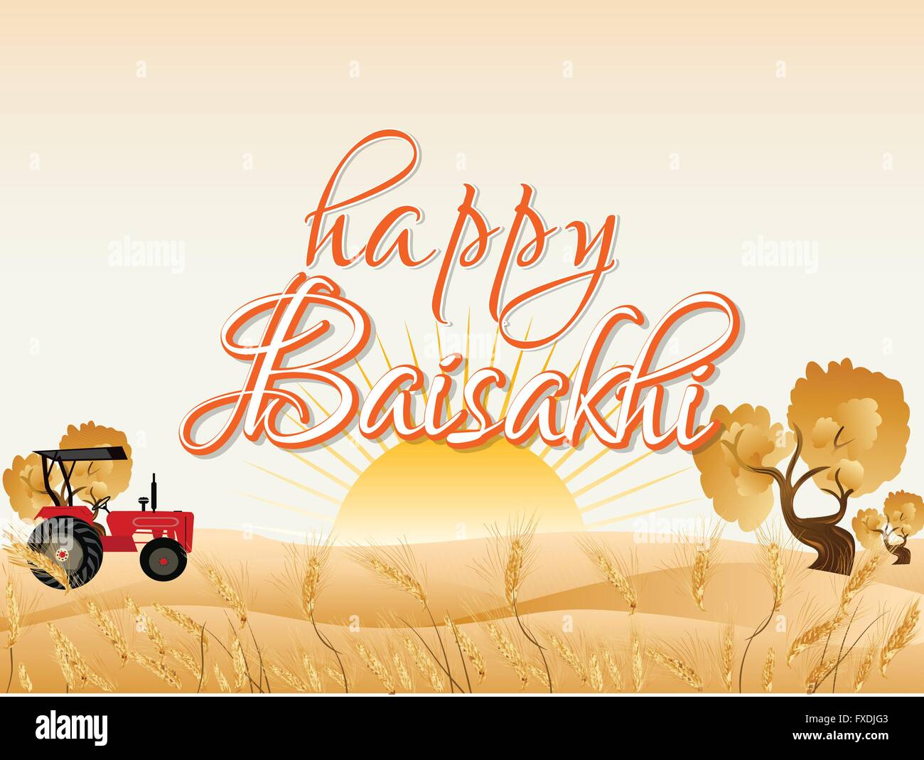 Happy Baisakhi Abstract - Stock Vector