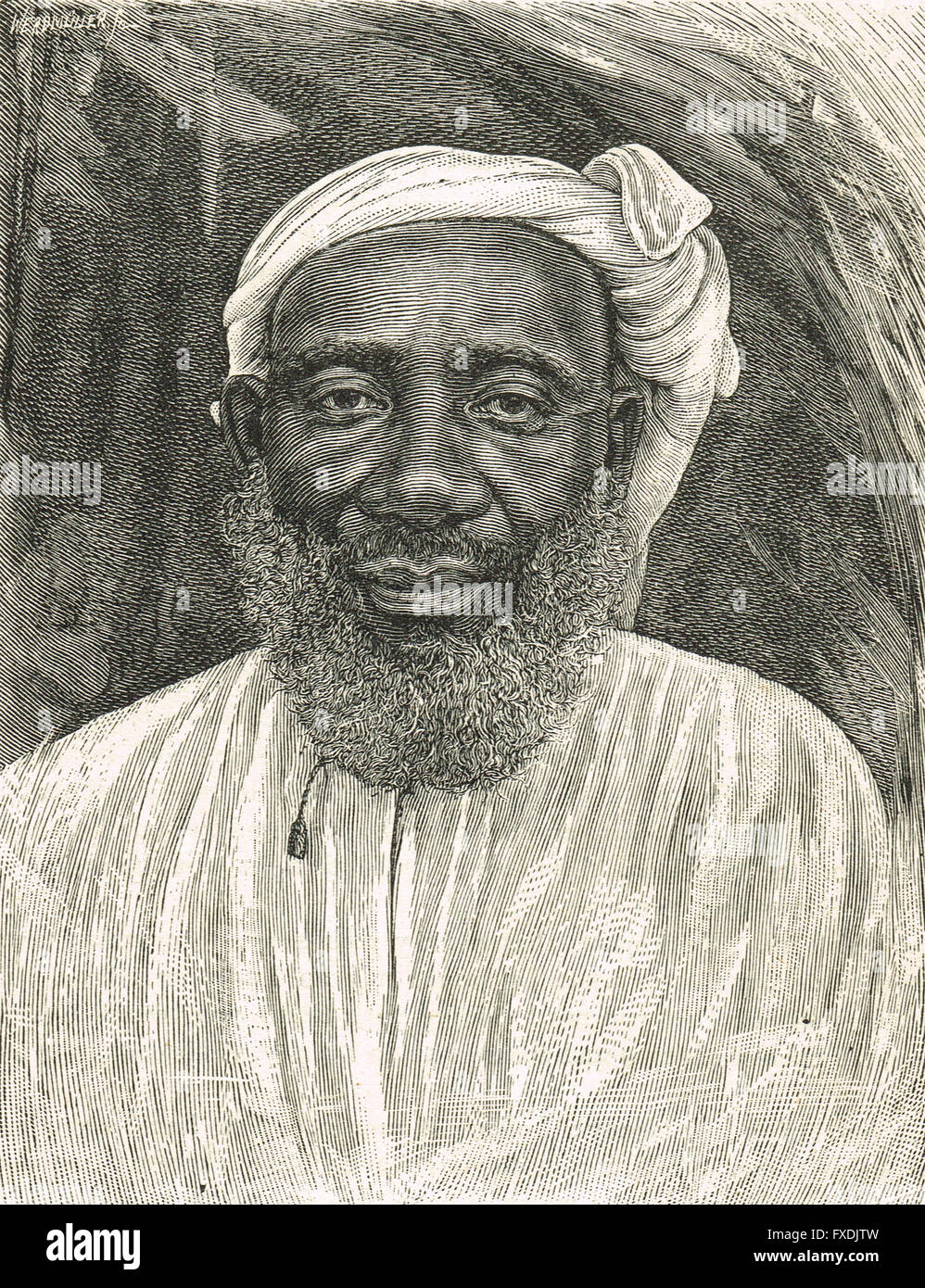 Tippu Tib or Tip Slave & Ivory Trader, Emin Pasha Relief Expedition 1886 to 1889 - Stock Image